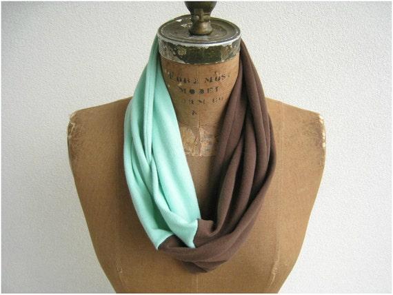 Infinity T Shirt Scarf / Eternity Scarf / Chocolate Brown Mint Green / Fall / Lightweight / Fashion / Soft / Fun / by ohzie