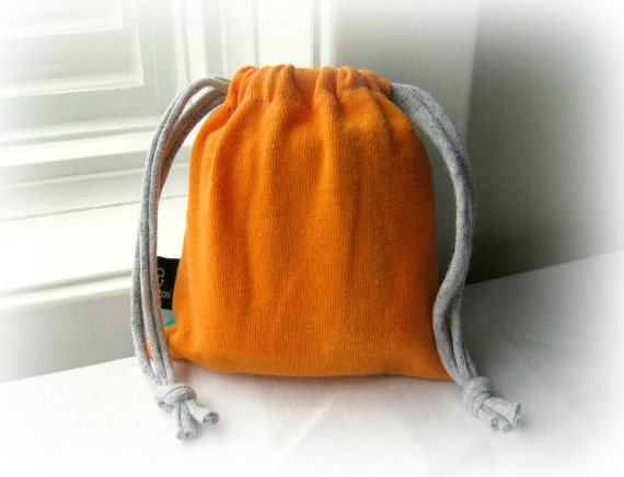 Recycled T Shirt Bag / Pouch / Gift Giving / Drawstring / Cotton / Soft / Tangerine Orange Aqua Blue Green / by ohzie