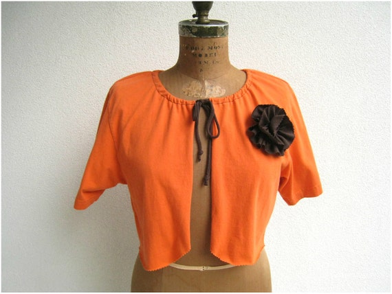 T Shirt Cardigan / Shrug / Tangerine Orange / Girls / M / Short Sleeved / Brown Tee Flower / Eco Friendly / Recycled Tees / Layer / by ohzie