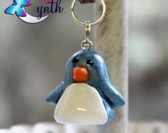 Pearly Blue Polymer  Penguin Charms