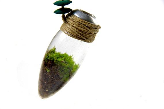 moss necklace, moss, lightbulb, eco necklace, terrarium