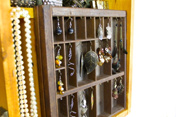 Large Unique Jewelry Holder made of wood, wall hanging..... Handmade by TangleandFold