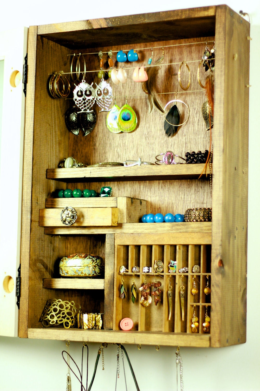 Black mirror jewelry cabinet