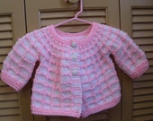 Pink Lattice Knitted Baby Sweater 6m