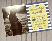 Nautical Flags Faded Navy Blue Denim & Celery Striped Baby Shower Boy Girl Neutral Photo Printable Invitation