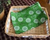 SALE - Handmade Green Flannel  Monkey burp cloth/doll blanket