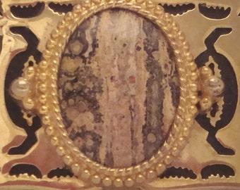 Vintage Gold and Marble Stone Elegant Belt Buckle