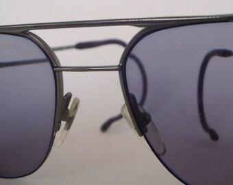 Vintage HSM Designer Menswear Half Rim Pilot Sunglasses