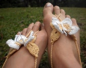NEW original design - Barefoot BUTTERFLY Sandals Cream with White wing tips