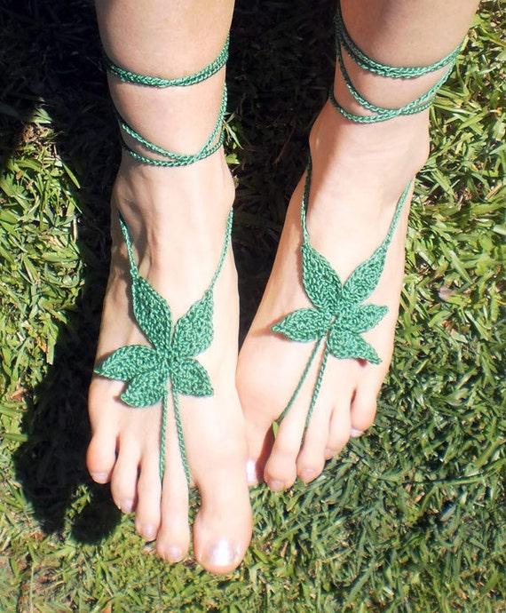 HiPPiE WEED Feet - Original design - Hand Crochet Barefoot Sandals - Grass Green