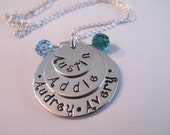 Triple Stack Family Keepsake Pendant - Great Gift for Mom and Grandma