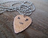 Personalize your own Guitar Pick Necklace for that Special Guy in your Life - your choice of Copper or Brass Guitar pick