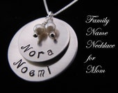 Slightly Cupped  Mom's Necklace in Sterling Silver with Two or Three Names of your choosing in a soft Matte Finish