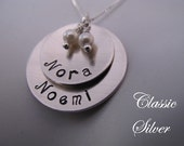 Slightly Cupped  Mom's Necklace in Nickel Silver with Two or Three Names of your choosing in a soft Matte Finish