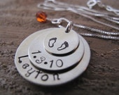 Nickel Silver Triple Stack New Baby Keepsake Pendant - Great Gift for Mom and Grandma