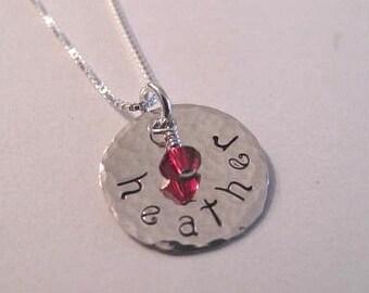 Hammered Childs Name and Swarovski Crystal Birthstone Necklace