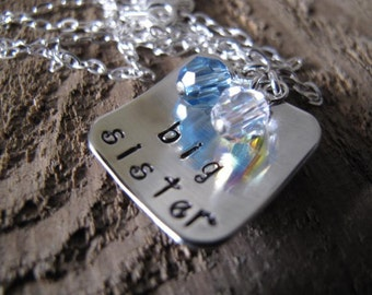 Big Sister Silver Square Pendant Cupped with both Sisters Birthstones