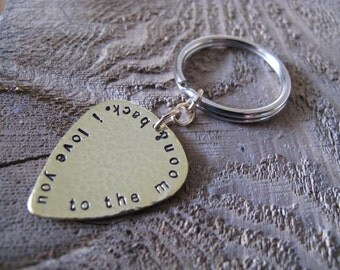 I Love You to the Moon & Back Personalized Brass Guitar Pick Keychain - For Him