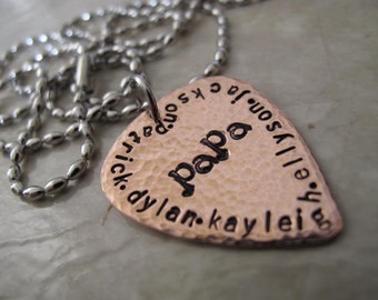 Personalize your own Guitar Pick Necklace for Dad, Papa, Brother or Grandpa - your choice of Copper or Brass Guitar pick
