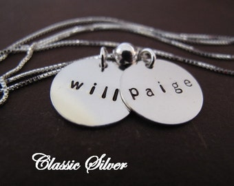 Simple 2 Name Brag Necklace is Sterling Silver  -  Great Gift for Mom or Grandma