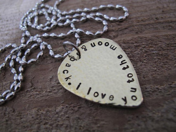 I Love You to the Moon & Back Personalized Brass Guitar Pick Necklace - For Him