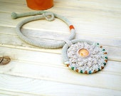 Tribal Crochet Necklace Wild Child Ivory Orange Green