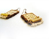 RESERVED for April - Crochet Earrings Broomstick Lace Ecru Brown Honey