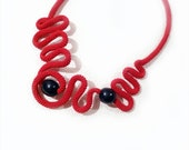 Crochet Statement Necklace Free Form Graphic Waves Lucky Red