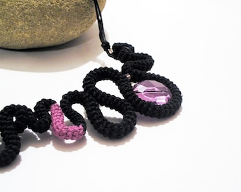Black Crochet Statement Necklace Radiant Orchid Faceted Crystal
