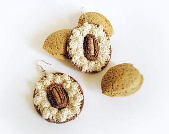 Crochet Earrings Popcorn Stitch Oval Shape Ecru Cinnamon