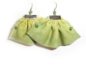 Ruffle Textile Earrings, Fresh Lime Green Ombre earrings