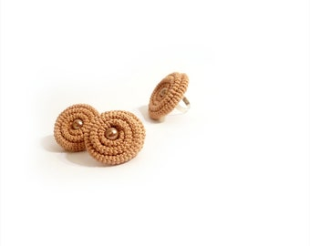 Earrings Ring Crochet Jewelry Set, Light Peach Spiral Clip On Earrings Adjustable Ring