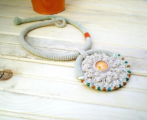 Tribal Crochet Necklace Wild Child Ivory Orange Green