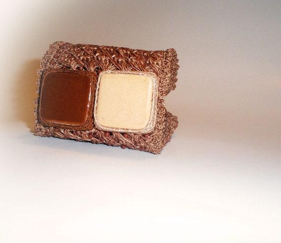 RESERVED - Crochet Bracelet, Fine Broomstick Lace, Hazelnut Brown