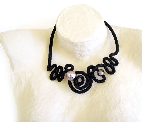 Crochet Necklace Free Form Labyrinth Black Silver