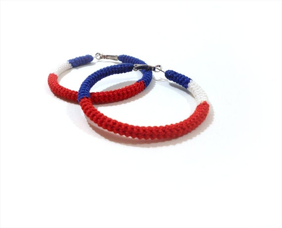 Red White Blue Earrings, Patriotic Earrings, American Flag Hoops, July 4th Earrings, Sailor Jewelry