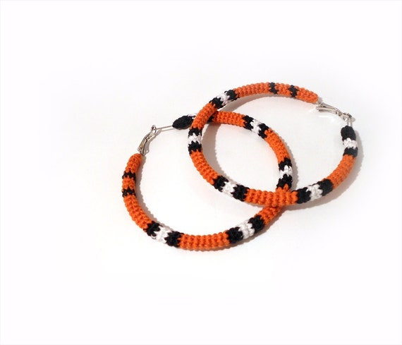 Exotic Big Hoop Earrings, Milk Snake Crochet Tube Hoops