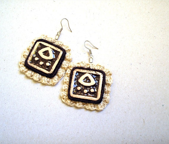 Crochet Tribal Earrings, Square Earrings Ceramic Plates