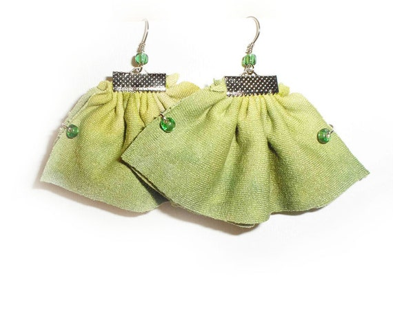 Ruffle Textile Earrings, Fresh Lime Green Ombre earrings