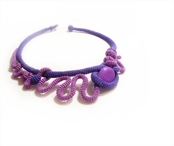 Vibrant Purple Sculptural Necklace, Radiant Orchid OOAK Fashion Jewelry