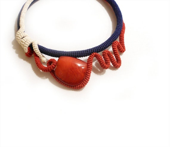 Crochet Necklace Wearable Art Choker Blue Red White