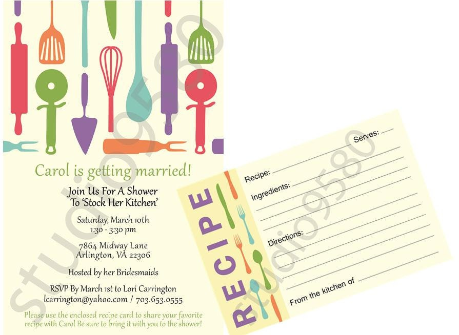 ... the Kitchen' Bridal Shower Invitations with Matching Recipe Cards
