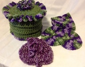 Crocheted Tissue Cover Set, Purple and Green Bath Set, OOAK