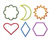 """More Applique Shapes Machine Embroidery Design Patterns Heart, Hexagon, Crescent, Star, Scalloped Circle, Diamond 2"""",3"""",4"""",5"""",6"""",7"""""""
