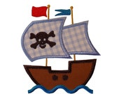 """Pirate Ship with Waves Appliques Machine Embroidery Designs Applique Patterns in 3 sizes 4"""", 5"""" and 6"""""""