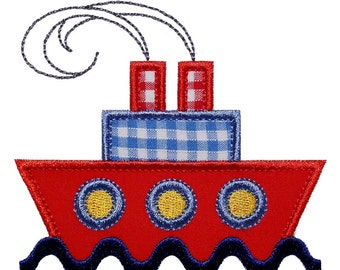 """Ship Ahoy Appliques Machine Embroidery Design Applique Pattern in 3 sizes 4"""", 5"""" and 6"""""""