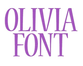 """Olivia Font Machine Embroidery Design Pattern in 4 sizes 2"""", 3"""", 4"""" and 5"""""""