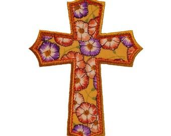 "Elegant Cross Applique Machine Embroidery Design Applique Pattern 5  sizes 3"", 4"", 5"", 6"" and 7"""