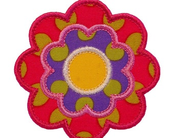 "Flower Power Appliques Machine Embroidery Designs Applique Pattern in 4 sizes 3"", 4"", 5"" and 6"""