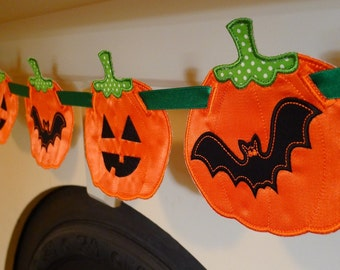 """Pumpkin Banner In The Hoop Banners Machine Embroidery Design Applique Pattern 3 sizes 4"""", 5"""", 6"""" all done In-The-Hoop Halloween Thanksgiving"""